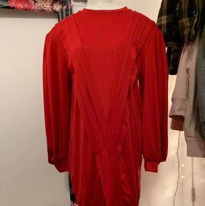 Zara Red Pleated Dress w Balloon Sleeves